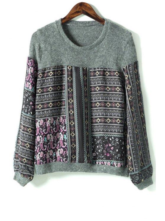women's Ethnic Print Long Sleeve Jumper - GRAY ONE SIZE(FIT SIZE XS TO M)