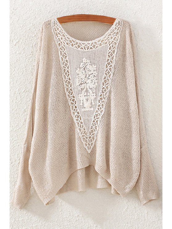 ladies Lace Spliced Scoop Neck Long Sleeve Jumper - BEIGE ONE SIZE(FIT SIZE XS TO M)
