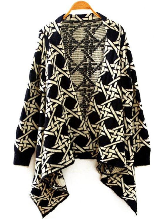 lady Geometric Pattern Long Sleeve Irregular Cardigan - BLACK ONE SIZE(FIT SIZE XS TO M)