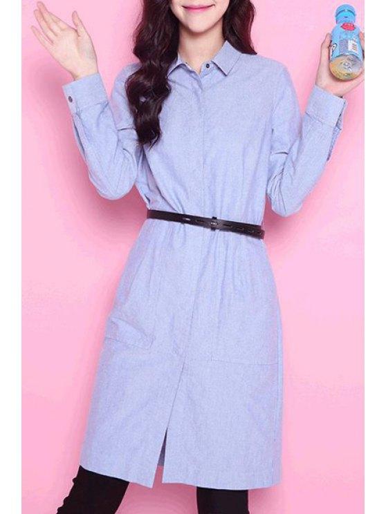 ladies Solid Collar Long Sleeves Flat Collar Shirt Dress - LIGHT BLUE M