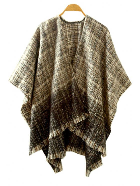 womens Ombre Color Half Sleeve Cardigan - KHAKI ONE SIZE(FIT SIZE XS TO M)