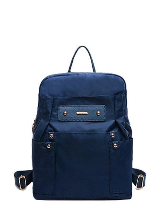 buy Solid Color Nylon Rivets Satchel - DEEP BLUE
