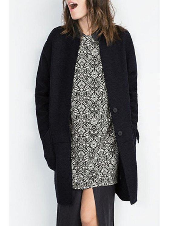 fashion Solid Color Lapel Collar Long Sleeves Pocket Coat - CADETBLUE S