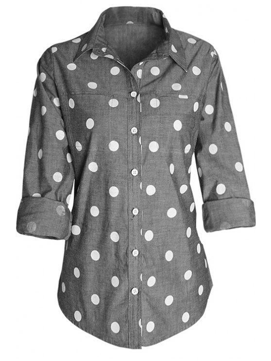 ladies Polka Dot Print Shirt Neck Long Sleeve Shirt - GRAY S