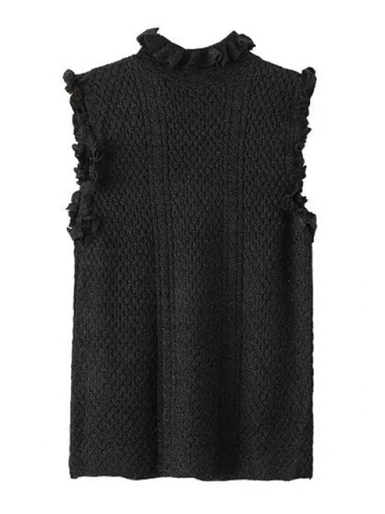 new Solid Color Sleeveless Stand Collar Pullover Sweater - BLACK S