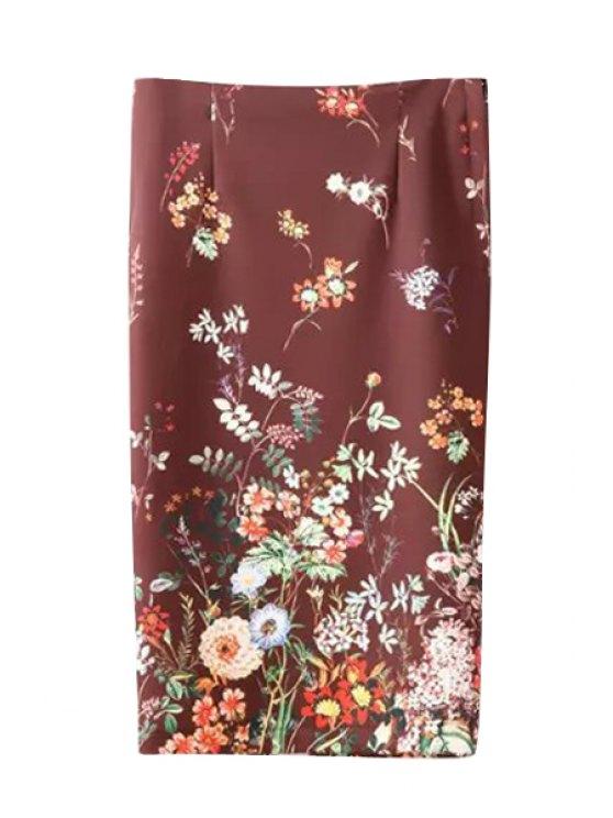 unique Back Slit Floral Print Women's Skirt - CLARET S