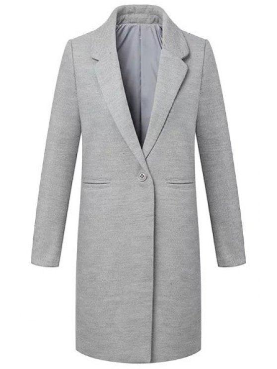 outfit Gray Lapel Long Sleeve Maxi Coat - GRAY S