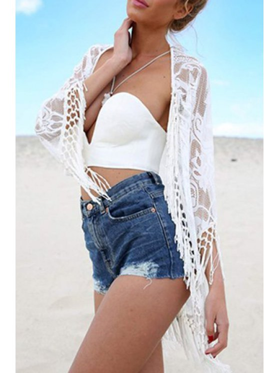 outfits Fringe Splicing Lace 3/4 Sleeve Blouse - WHITE M