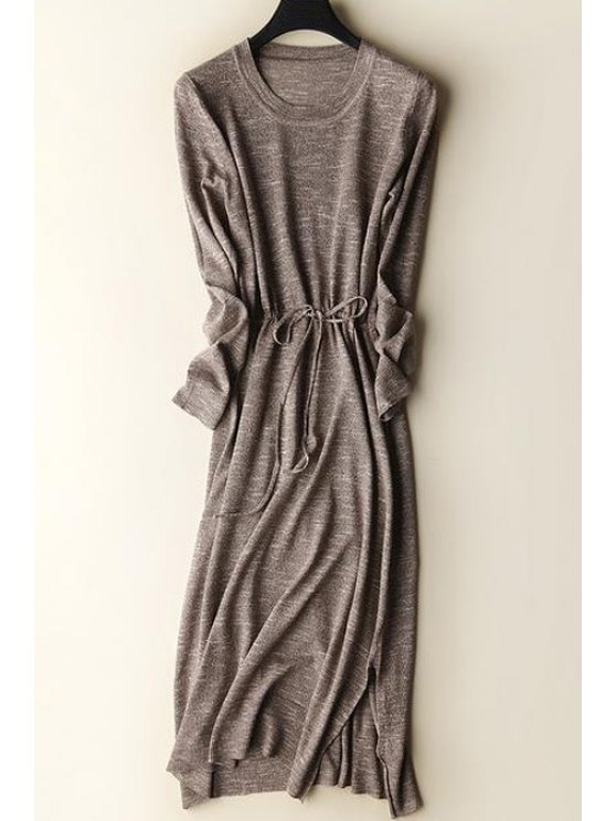 shops Solid Collar Long Sleeves Side Slit Sweater Dress - COFFEE ONE SIZE