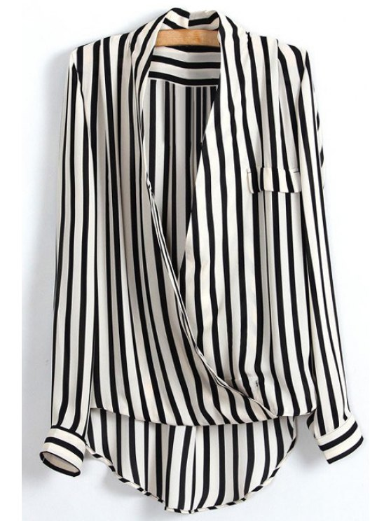 sale High Low Striped Wrap Blouse - WHITE AND BLACK S