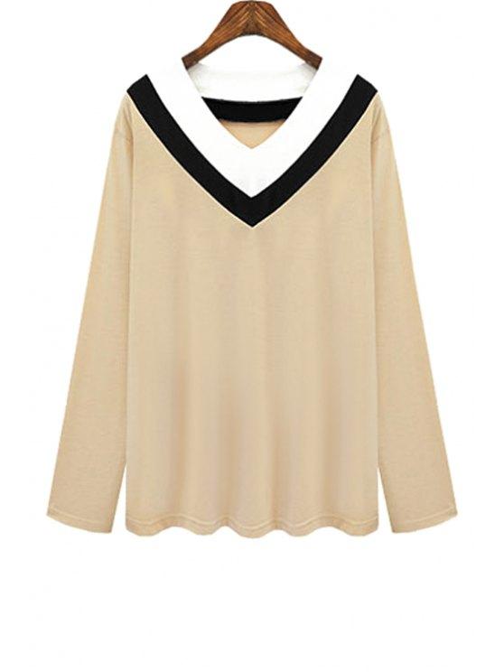 women's V Neck Color Block Stripe T-Shirt - KHAKI 3XL