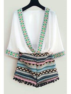Argyle Embroidery 3/4 Sleeve Blouse + Shorts - White M