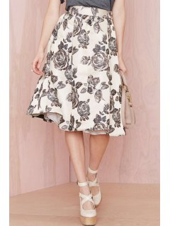 Floral Print Ball Gown Skirt - White And Black Xl