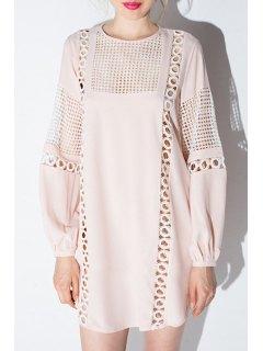 Long Lantern Sleeve Openwork Dress - Pink L