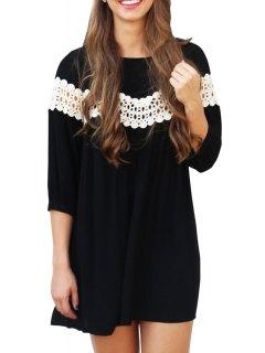 3/4 Sleeve Lace Spliced Loose Dress - Black L