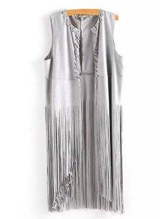 Solid Color Tassels Waistcoat - Gray M