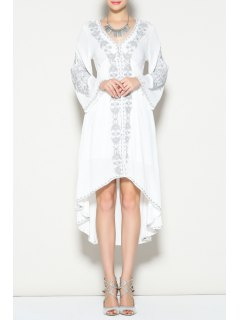 Bell Sleeve Embroidered High Low Dress - White L