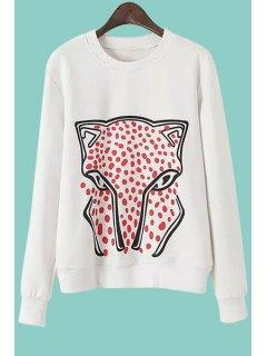Cartoon Animal Pattern Long Sleeves Sweatshirt - White L