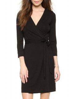 Black V Neck 3/4 Sleeve Wrap Dress - Black L