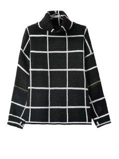 Turtle Neck Color Block Plaid Long Sleeve Sweater - Black