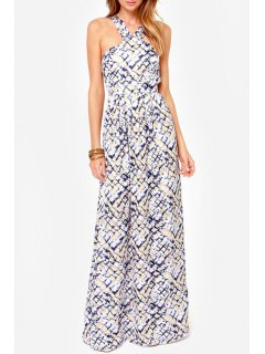 Rock Print V Neck Sleeveless Maxi Dress - Off-white M