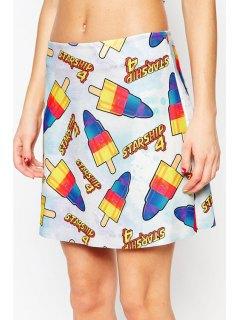 Colorful Ice Cream Print Skirt - Blue Xl