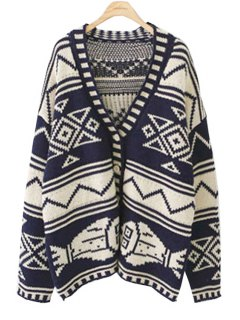 Open Front Geometric Pattern Cardigan - Purplish Blue