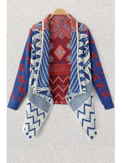 Shawl Neck Geometric Pattern Cardigan - Blue