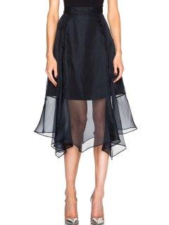 Solid Color Chiffon Splicing Skirt - Black