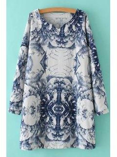 Abstract Print V Neck Long Sleeve Dress - 2xl