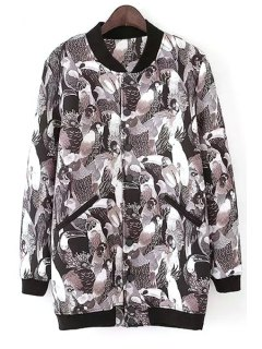 Full Parrot Print Stand Neck Jacket - Black L