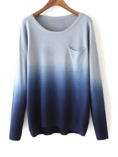 Round Neck Ombre Color Sweater - Blue