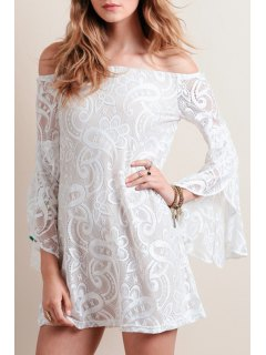 Bell Sleeve Openwork Lace Hook Dress - White 2xl