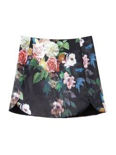 Colorful Floral Printed Skirt - Black Xl
