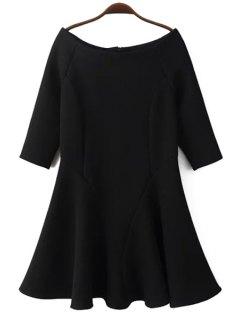 Slash Neck Fit And Flare Dress - Black L