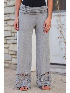 Wide Leg Lace Spliced Pants - Light Gray L