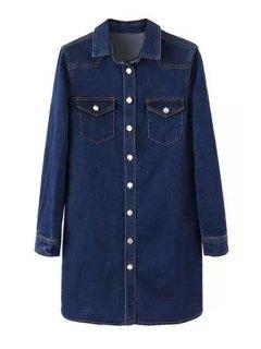 Deep Blue Denim Turn Down Collar Long Sleeve Dress - Deep Blue L