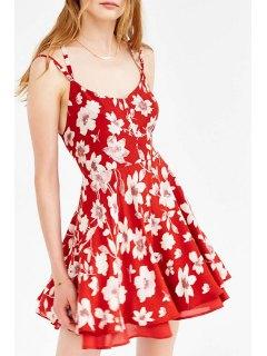 Full Floral Print Cami Dress - Red Xs