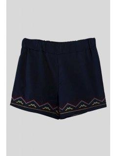 Kitten Embroidery Elastic Waist Shorts - Cadetblue