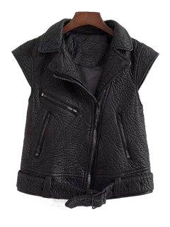 PU Leather Black Side Zipper Thicken Waistcoat - Black L
