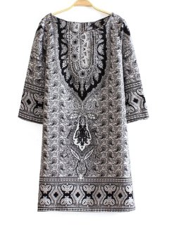 Long Sleeve Paisley Print Dress - White L