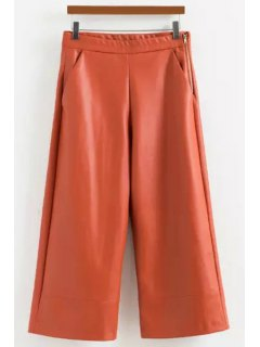 Wide Leg PU Leather Capri Pants - Orange S