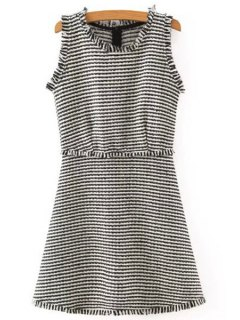 Striped Sleeveless Scoop Neck Dress - White And Black L