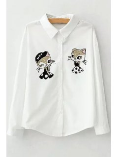 Long Sleeves Cartoon Print Flat Collar Shirt - White L