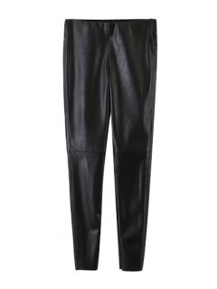 Narrow Feet Faux Leather Black Pants - Black S