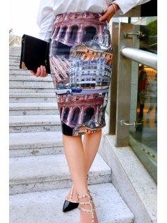 Building Print Geometric Women's Skirt - M