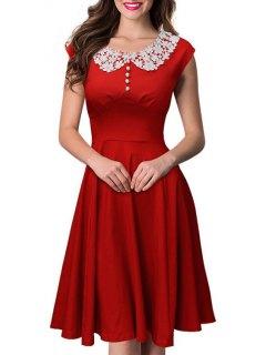 Short Sleeve Lace Spliced Swing Dress - Red 2xl