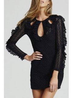 Lace Keyhole Neckline Long Sleeve Dress - Black M