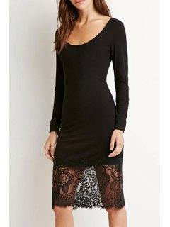 Lace Spliced Long Sleeve Black Dress - Black S