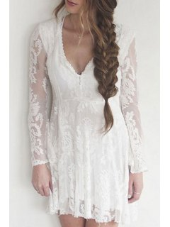 Lace Plunging Neck Long Sleeve A Line Dress - White S